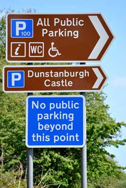 Parking sign on the approach to Craster